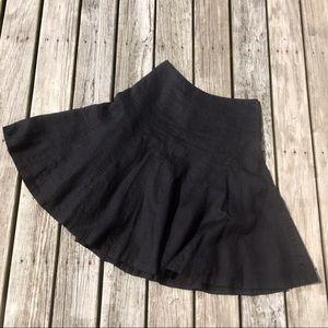 Ralph Lauren Black Linen Circular Skirt Petite